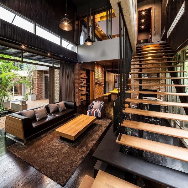 лестница  в стиле лофт 01