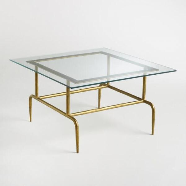 Журнальный столик стеклянный лофт 02