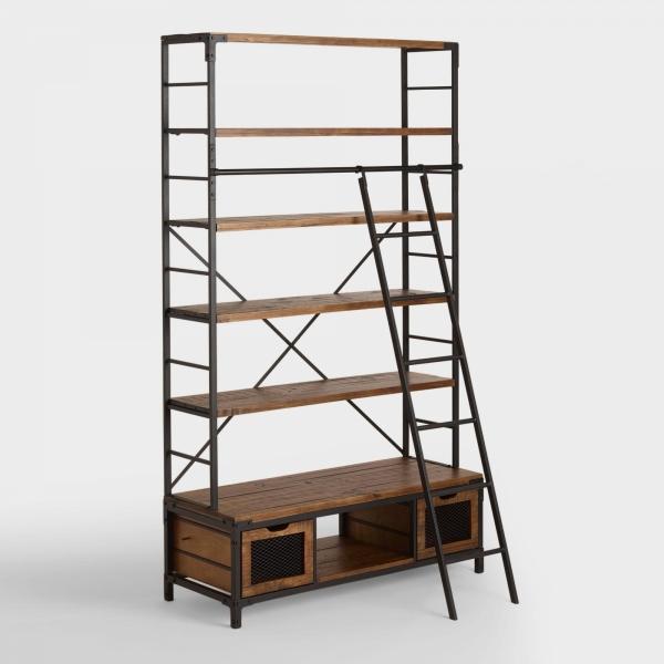 Стеллаж книжный с лестницей лофт 01